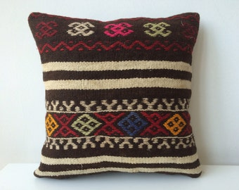 Handwoven Turkish Rug Pillow Cover, Decorative Pillows, Accent Pillow, Red, Orange pillow, Kilim Pillow Cover, Vintage Pillow, Lumbar Pillow