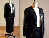 Vintage Black Sequin Jacket size Small // Black Sequin Sweater Cardigan size Small