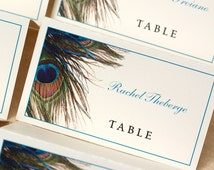 Peacock Place Cards, Escort Cards, Peacock Feather, DEPOSIT