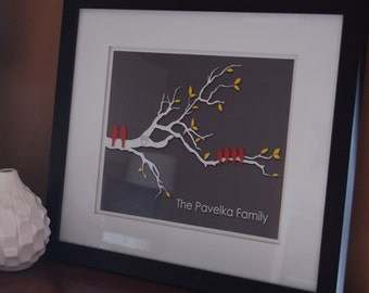 """Family Tree, Gifts for Mom, Family Tree Print, Family Tree Wall Art, Mother's Day Gift, Mom Gift, Love Birds, You Choose Colors - 11""""x14"""""""