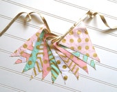 LAST CHANCE SALE! - Metallic Gold, Pink, Mint, and White Pennant Fabric Banner - Bunting, Party Decoration, Photo Prop