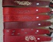 Leather guitar strap, Classic Red collection