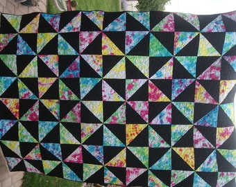 Tie Dyed Pin Wheel Twin Bed Size Quilt