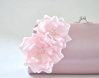 Dusty Rose - Pale Pink - Bridesmaid Clutch / Bridal clutch