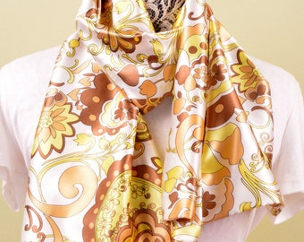 SCARF- Mustard Indian Floral - fashion scarf 58 by 15 inches