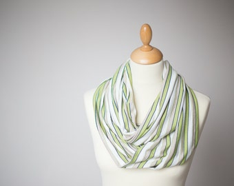 Infinity Scarf Versatile Cowl Loop Circle Beige Green Stripes Neutral Modern Minimalist Men Women geometric gifts for men