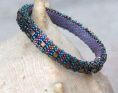 Purple and Gold Beadwoven Bangle Bracelet