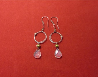 Sterling Silver Loop Earrings with Citrine briolette's, pearls and crystals