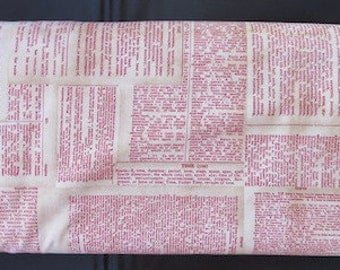 Tim Holtz Eclectic Fabric -  Dictionary Red