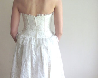 Vintage Strapless Short Lace Wedding Dress / Reception Dress / The Paris Wedding