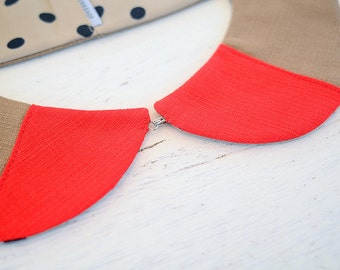 Double-sided Peter Pan collar - Cherry on sands
