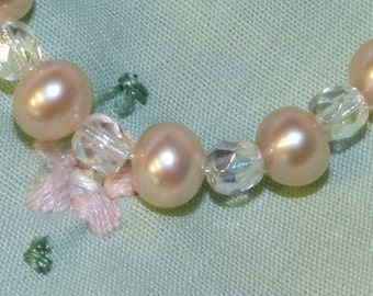Newborn Infant Bracelet Peachy Pink Freshwater Pearls and Sterling Silver Great Gift for New Baby Family Keepsake