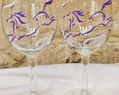 Hand painted whimsical running horse wine glasses