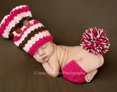 Baby Set - Crochet Bunny Hat, Leggings and Pom Pom (0-3 months, 3-6 months, 6-9 months)