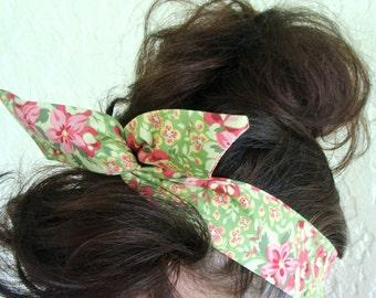 Dolly Bow Yellow Orange Flowers Wire Flexible Headband woman girls teen