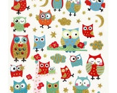 1x Sheet of Owl Stickers w glitter, 15x16,5 cm