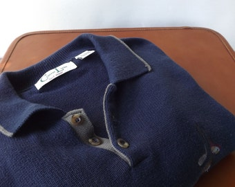 100% Cotton Knit Mens Shirt, Long Sleeve Shirt, Mens Golf Shirt, Big Mens Navy Blue Shirt, Golf Club Shirt, Mens Sweatshirt Size 2XL, XXL