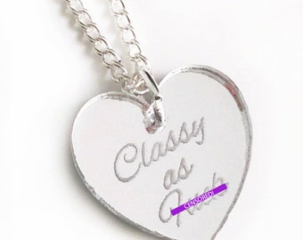 Classy as F-ck Necklace - Silver Heart