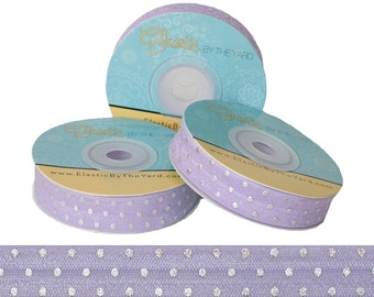 Lilac with Metallic Silver Dots - Fold Over Elastic - 5 YARDS
