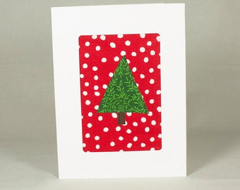 It's Snowing! One of a Kind Handmade Christmas Card - Quilted Fabric Greeting Card - Merry Christmas