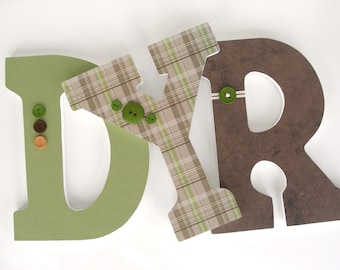 Wooden Nursery Letters - Sage Green and Brown - Custom Letter Set for Boy Bedroom
