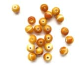 Supplies - Lot of 20 Marbled Fused Glass Creamsicle Beads