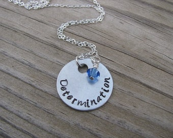 """Inspiration Necklace- Hand-Stamped """"Determination"""" with an accent bead in your choice of colors"""