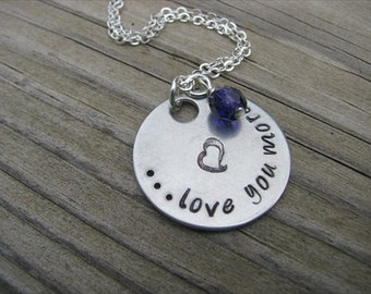 """Mother's Necklace, Inspiration Necklace- """"...love you more"""" with heart and an accent bead in your choice of colors"""