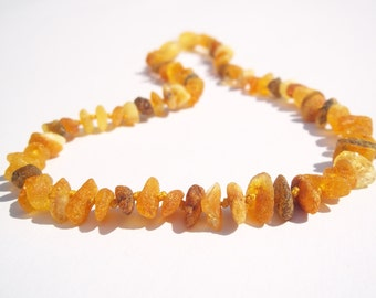Multicolored Raw Unpolished  Natural  Baltic Amber teething necklace for your baby .