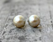 Pearl Titanium Earrings, Faux Flat Back Brown Pearls, 10 mm, Hypoallergenic