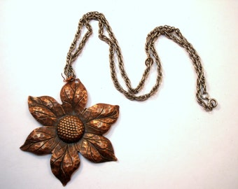 Large copper flower necklace for repair or repurpose
