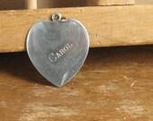 Vintage Heart Charm Carol Engraved Silver Metal Heart 1950s Charm