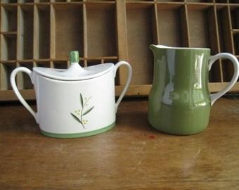 Avocado Cream and Sugar Set Vintage 1960s Creamer and Sugar Bowl Franciscan China Westwood Ironstone