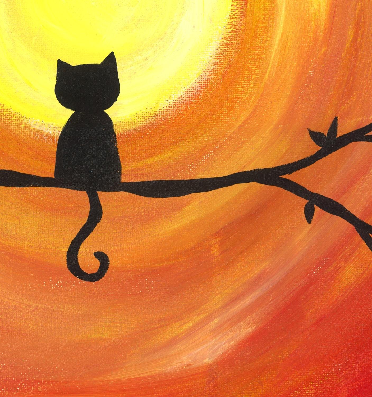 Sunset Kitty Cat Silhouette Sunset Art Print By Heathercashart