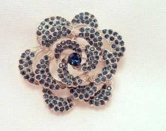 Vintage Silver Blue Rhinestone Flower Brooch Large Costume Jewelry Pin