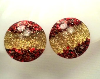 Red and Gold Sparkle Confetti Lucite Earrings