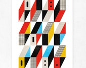 CITY 01. Geometric large print (A3).  Red, blue, black, yellow . (Special SPRING  offer: Get a poster for free)