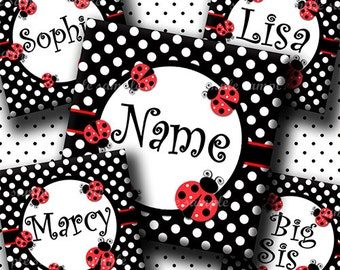 INSTANT DOWNLOAD Editable JPG Red Lady Bugs (665) 4x6 1 inch Square Images Digital Collage Sheet for glass tiles resin pendants