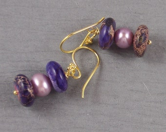 SALE ~ Purple Periwinkle Blue Picasso Jasper Lavender Cultured Pearl Vermeil Earrings