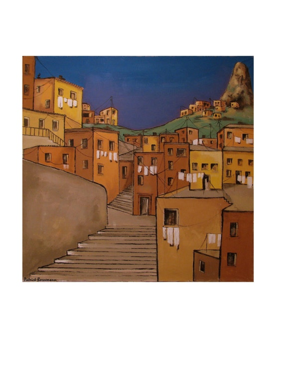 Folkloric Street Stairs, Hanged Clothes, South America Brazil Rio, Brown, Original illustration Artist Print Wall Art, Free Shipping in USA.
