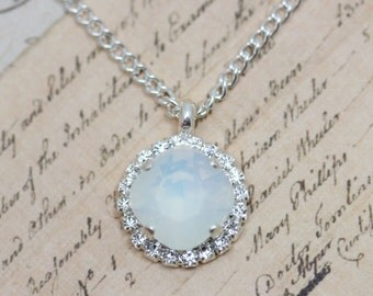 "White Opal Necklace Bridesmaids Necklaces Matching Wedding Crystal Necklace 16"" Silver"