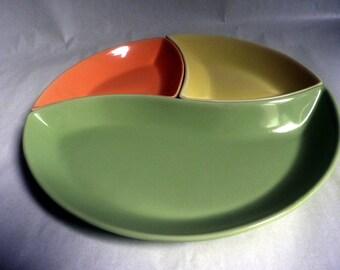 Atomic Ceramic Plate Set, green, orange & yellow