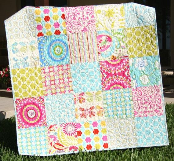 Kumari garden baby quilt big block girl crib by for Dena designs kumari garden