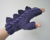 Dragon,dinosaur,monster fingerless mittens.Beautifully soft, purple, Australian pure wool medium female adult size