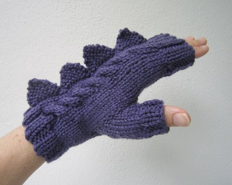 Dragon,dinosaur,monster fingerless mittens.Beautifully soft, purple, Australian pure wool medium female adult size