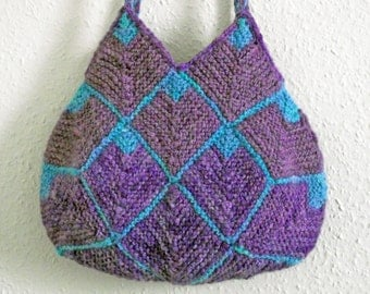 Purple Knit Purse, Lined Tote, Purple Knit Bag, Handspun Dyed Knitted Bag, Purple Turquoise Tote Knit Shoulder Purse Two Braided Handles