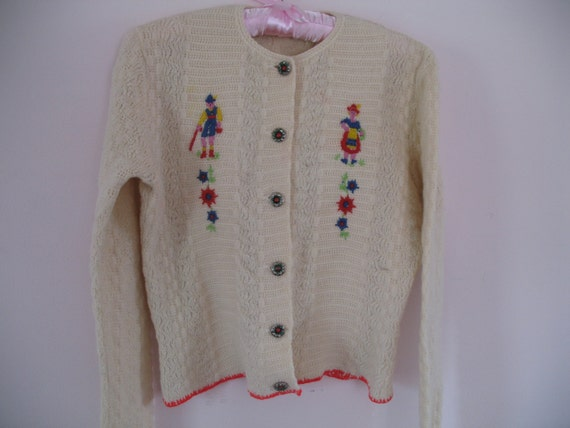 1950's Sweater- German Folk and Flowers