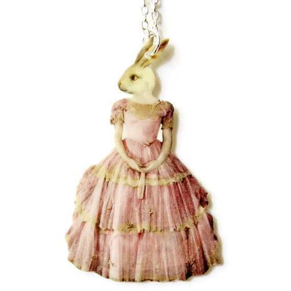 Anthropomorphic White Rabbit Necklace Pink Dress Bunny Whimsical Victorian Illustration Circus Oddities Weird Easter Statement Jewelry