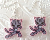 Kawaii Mr. Pook the Cat Laser Cut Acrylic Earrings - Cartoon Plastic Drop Earrings - Anime Cat