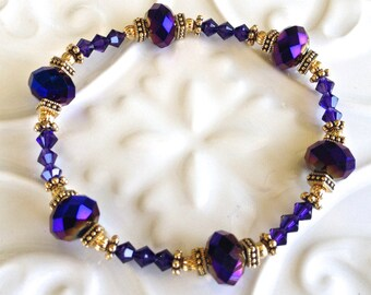 Royal Purple & Blue Crystal Bracelet in Gold